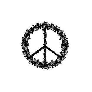 Tampon bois Peace & Love fleuri 5,8 x 6 cm