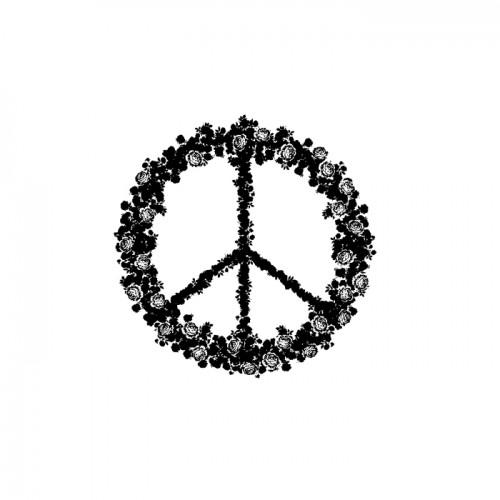 Wooden stamp 5.8 x 6 cm - Peace & Love