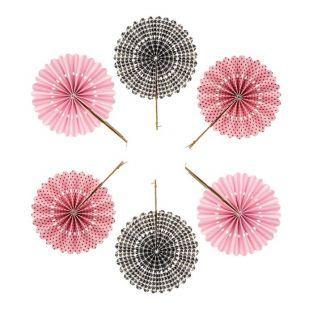 6 abanicos de papel - rosa y negro