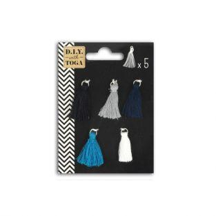 5 dark-colored tassels 1.5 cm - Cyclades
