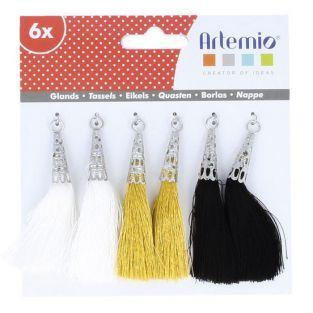 6 white-golden-black tassels