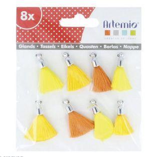 8 borlas de color amarillo-naranja