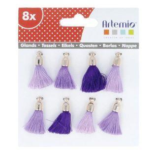 8 pompons bleu-violet-mauve