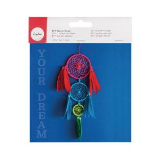 Kit DIY Attrape-rêves coloré (rouge, bleu, vert)