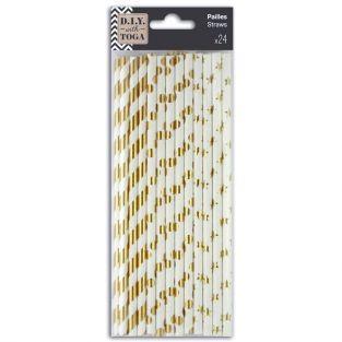 24 pailles en papier doré et blanc