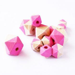 Cuentas de madera diamante - Rosa