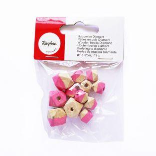 Diamond wood Beads - Pink