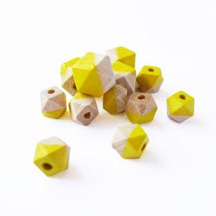 Diamond wood beads - yellow