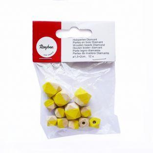 Diamond wood beads - yellow