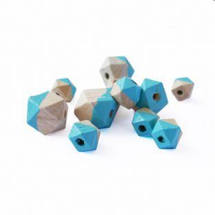 Cuentas de madera diamante - Turquesa