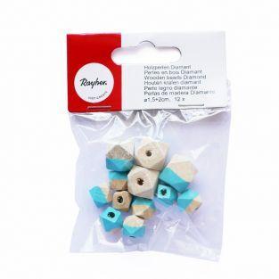 Perles en bois diamant - turquoise
