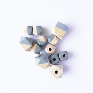 Perles en bois diamant - gris