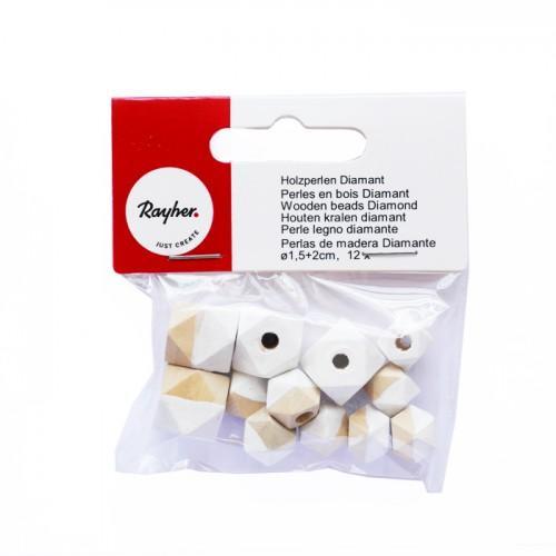 Diamond wood beads - white