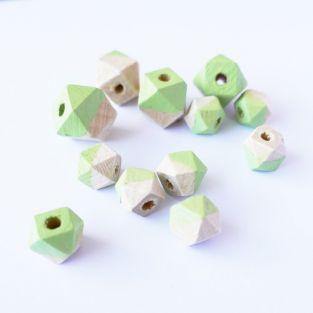 Diamond wood beads - green