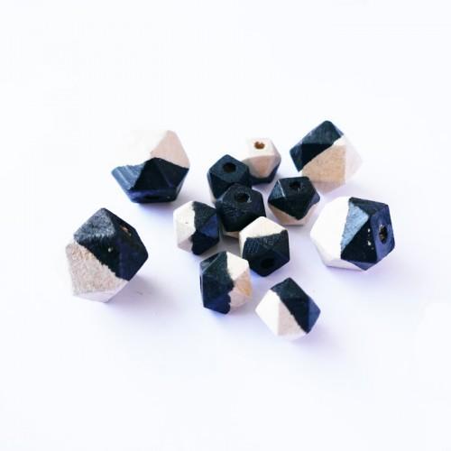 Diamond wood beads - black
