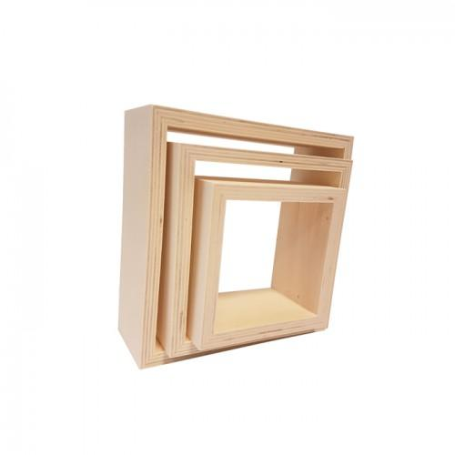Set of 3 small square wooden shelves 22 x 22 x 8 cm