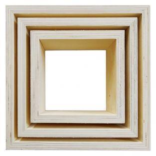 3 pequeños estantes de madera cuadrados 22 x 22 x 8 cm