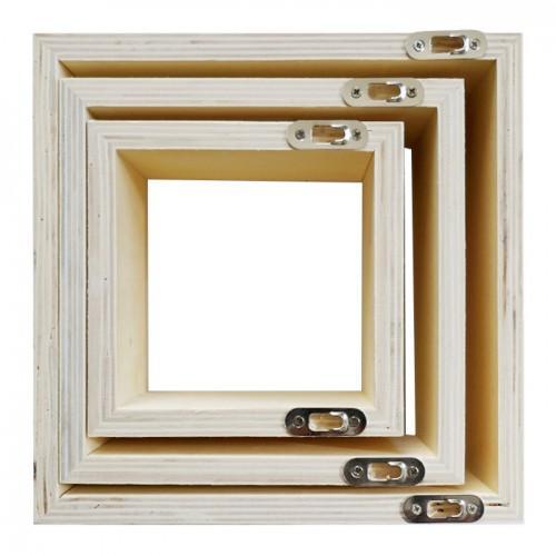 Lot de 3 petites étagères carrées en bois 22 x 22 x 8 cm
