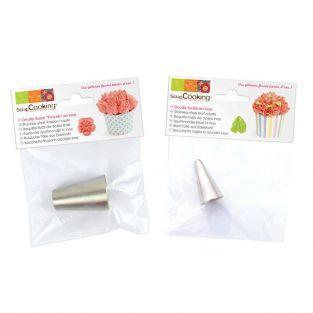 2 boquillas pasteleras de acero inox - Hoja y Peonía