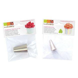2 boquillas pasteleras de acero inox - Hoja y Eglantina
