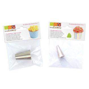 2 stainless steel nozzles - Leaf and Tulip