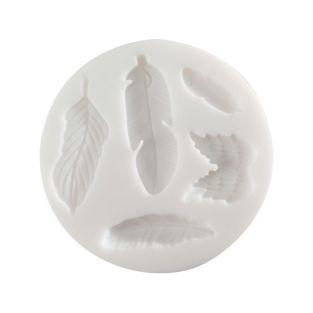 Mini silicone mold for polymer clay - Feathers