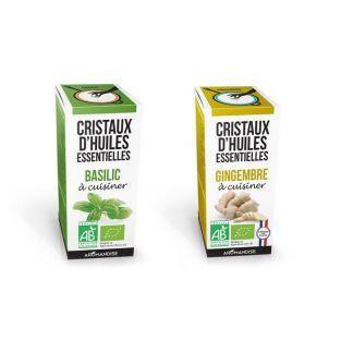 Cristaux d'huiles essentielles Basilic et Gingembre