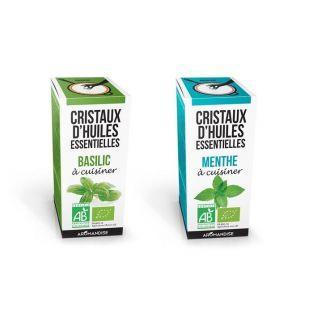 Cristaux d'huiles essentielles Basilic et Menthe