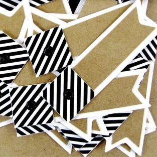 100 striped kraft labels - Pennant