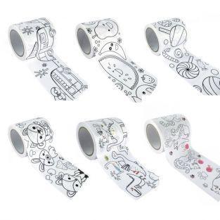 6 masking tapes larges à colorier 4,6 cm  x 5 m