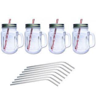 4 Mason Jar Mugs with lid + 4 stainless steel straws