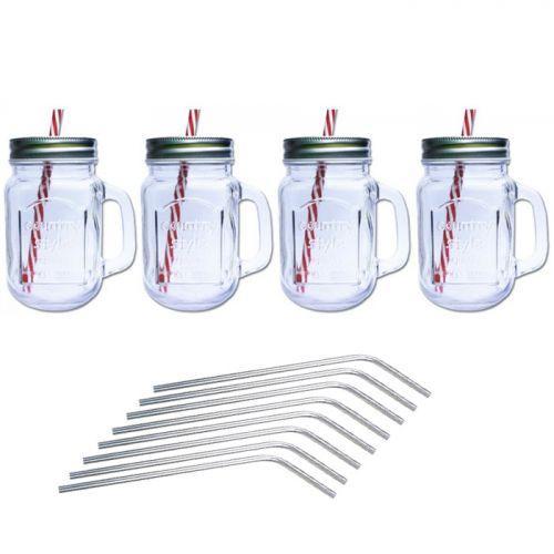 4 tazas mason jar con tapa 4 pajitas de acero inoxidable for Tarros de cocina baratos