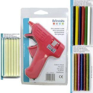Kit mini pistolet à colle + 26 bâtonnets de colle assortis
