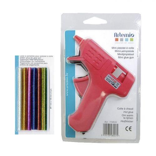 Mini pistolet à colle + bâtonnets de colle à paillettes