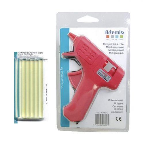 Mini pistolet à colle + 14 bâtonnets de colle