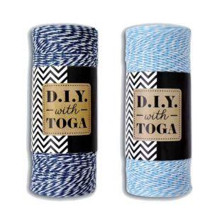 2 ficelles bicolores 100 m - bleu marine & bleu clair