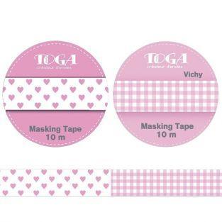 2 cintas adhesivas rosa y con corazones