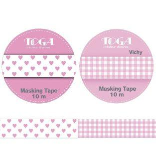 2 masking tapes rose - vichy & cœurs