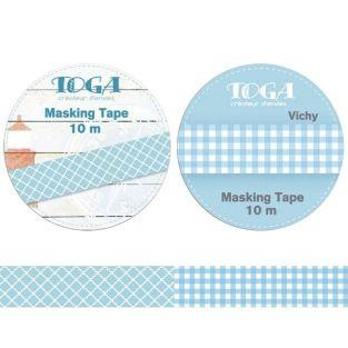 2 masking tapes quadrillés bleu et blanc