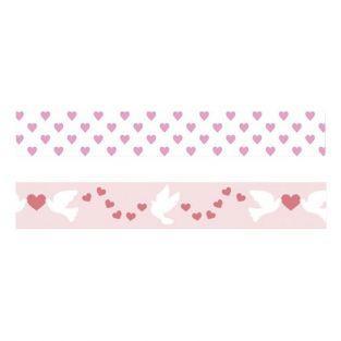 2 cintas adhesivas San Valentín - Corazones y palomas