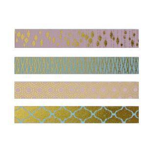 4 masking tapes rose et bleu à motifs dorés