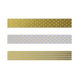 3 masking tapes à motifs or & blanc