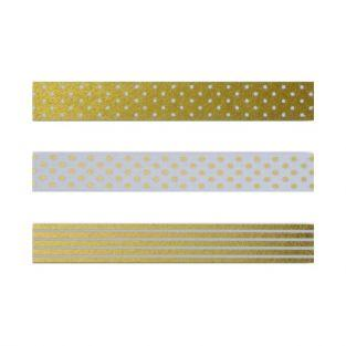 3 masking tapes with golden & white patterns