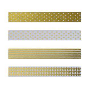 4 masking tapes à motifs blancs et dorés