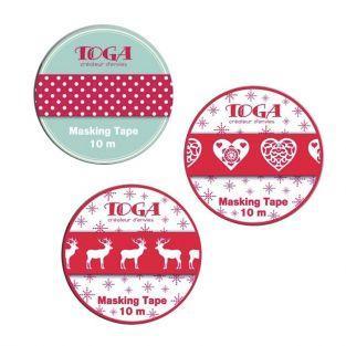 3 cintas adhesivas de Navidad escandinava - rojo y blanco