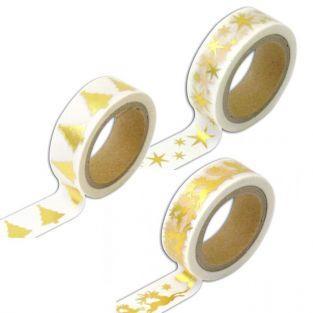 3 masking tapes de Noël blancs et dorés