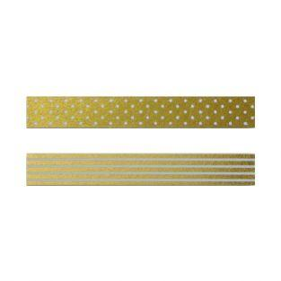 2 golden masking tapes with white patterns