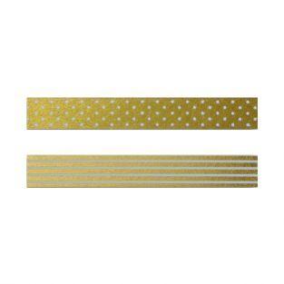 2 masking tapes dorés à motifs blancs