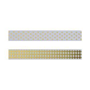 2 masking tapes blancs à motifs dorés