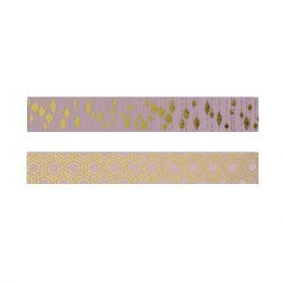 2 cintas adhesivas rosa con diseños dorados